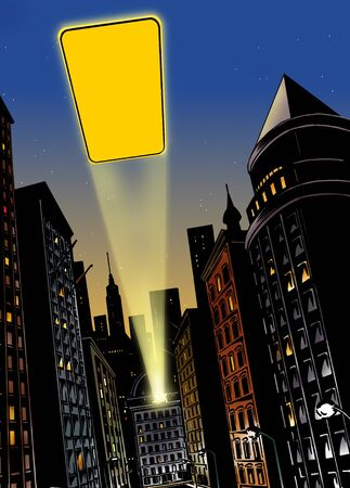 batman: Illustration with city in the background with flash of light in the sky at night Stock Photo