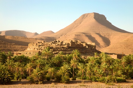 A traditional berber village high in the slopes of the Atlas mountains in Morocco. Berbers are the indigenous peoples of North Africa.