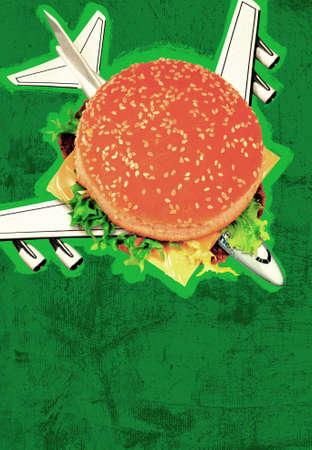 sandwish: Illustration green Sandwish plane falling