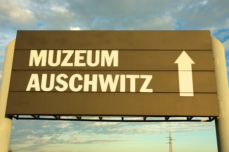 treblinka: Signboard in Auschwitz Birkenau concentration camp Editorial