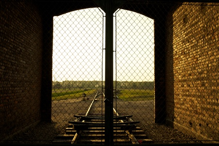 barrack: Entrance of the Nazi Auschwitz-Birkenau concentration camp.
