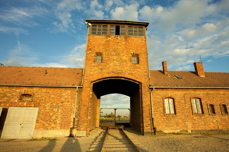Entrance of the Nazi Auschwitz-Birkenau concentration camp. Stock Photo - 12572492