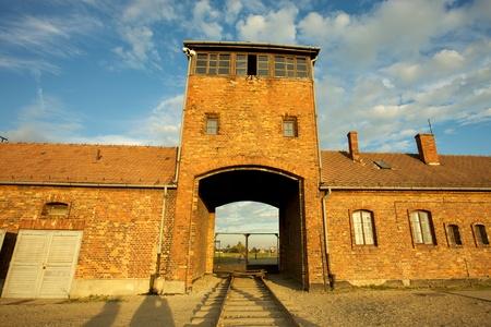 auschwitz memorial: Entrance of the Nazi Auschwitz-Birkenau concentration camp.
