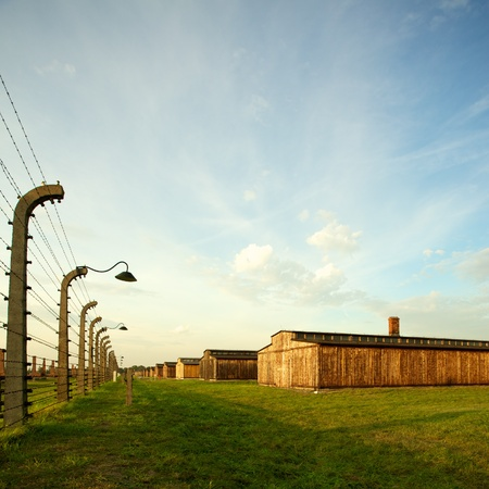 treblinka: Wood houses in Auschwitz Birkenau concentration camp Editorial
