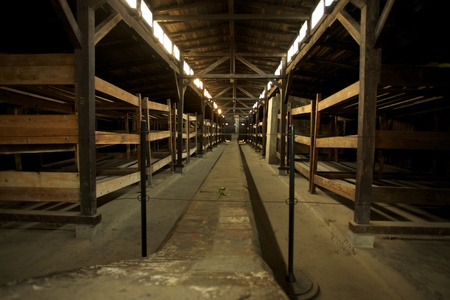 barrack: Inside wood houses in Auschwitz Birkenau concentration camp Editorial