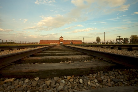 treblinka: Train track arriving in Auschwitz Birkenau concentration camp