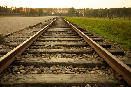 concentration camp: Train track arriving in Auschwitz Birkenau concentration camp