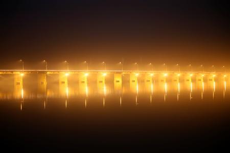 Pont des martyrs Bridge at night in Bamako, Mali. Stock Photo