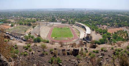 bamako: Panoramic and wide angle view of the Stadium in Bamako Stock Photo