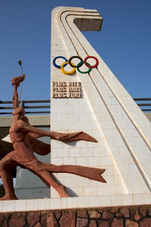 Olympic games sculpture in the city of Bamako in Mali