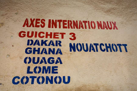 bamako: Detail of the bus counter in Bamako with the name of each big capital city in Western Africa Editorial