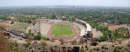 level playing field: Panoramic and wide angle view of the Stadium in Bamako, Mali.