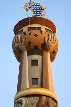 Strange architecture for the Tower of African at the entrance of Bamako.
