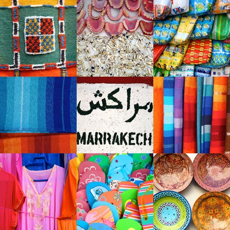 Composition of 9 images in a square format including close-up of products found in the old medina or souk of Marrakech