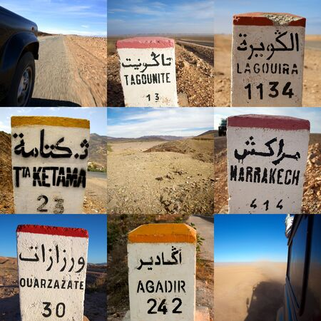 Composition of 9 images in a square format including close-up of signs road in Morocco Stock Photo - 12572236