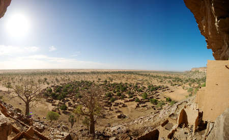 ethnology: View towards Burkina Faso (50 km) and a local Dogon village.