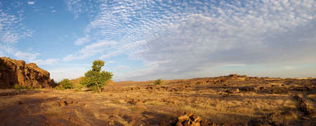 ethnology: Panorama view of the Bandiagara cliff with an impressive sunset, Mali.