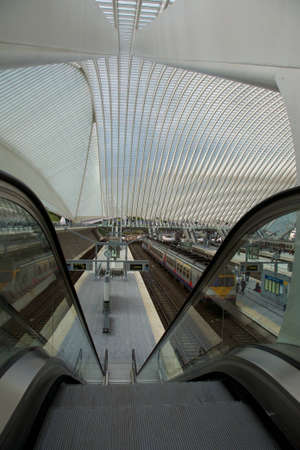 Contemporary and futuristic Liege-Guillemins railway station in Belgium by the architect Calatrava