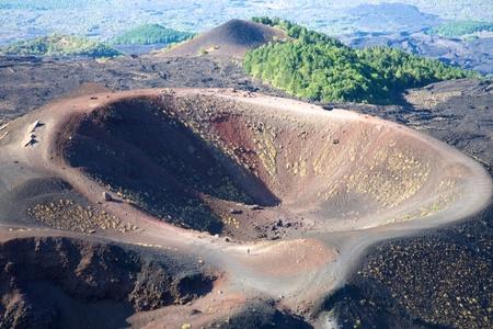 이전 에트나 화산 폭발의 오래된 크레이터
