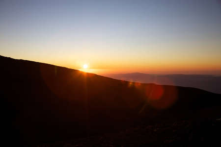 Sunset on the Etna with clear sky photo