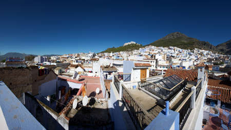 northern african: Panoramic view of the village Chaouen or Chefchaouen in the Rif mountain in Morocco