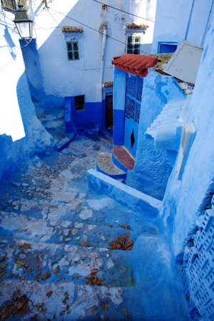 A blue small street in chefchaouen, norther