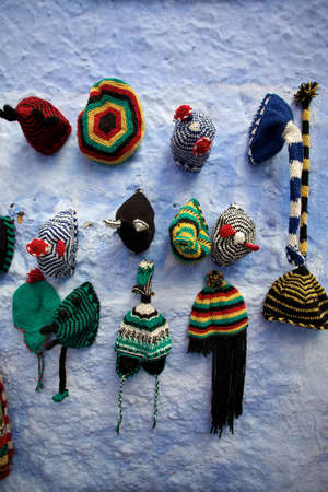 rasta: Rasta hats on a blue wall in Chefchaouen, Morocco