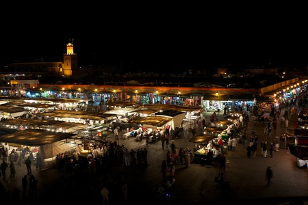 Square  Djamaa El Fna in Marrakesh at night with all the food shops Stock Photo - 12572202