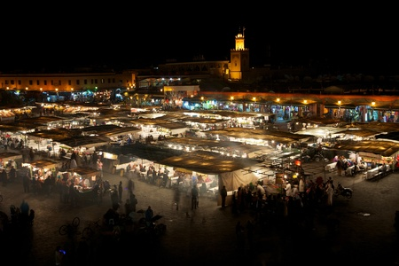 marocco: Square  Djamaa El Fna in Marrakesh at night with all the food shops