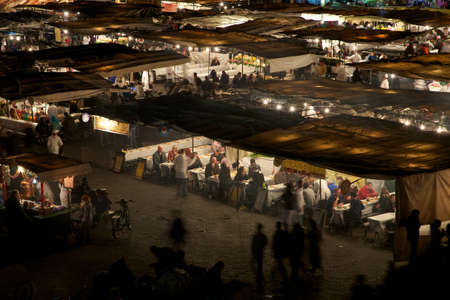 Square  Djamaa El Fna in Marrakesh at night with all the food shops.