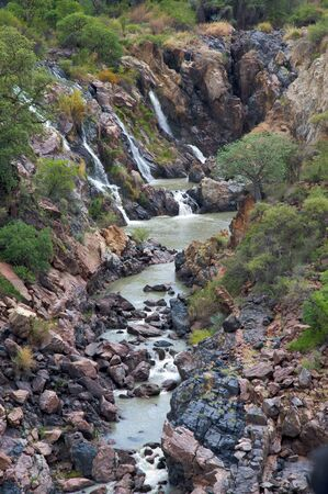 angola: The Epupa Falls lie on the Kunene River, on the border of Angola and Namibia Stock Photo