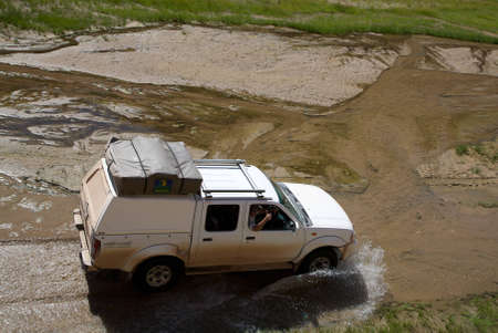 swerving: Offroad in a river bed in Namibia - Kaokoland