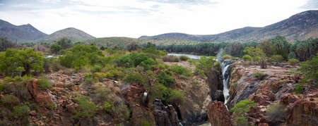 The Epupa Falls are created by the Kunene River on the border of Angola and Namibia, in the Kaokoland area of the Kunene Region.