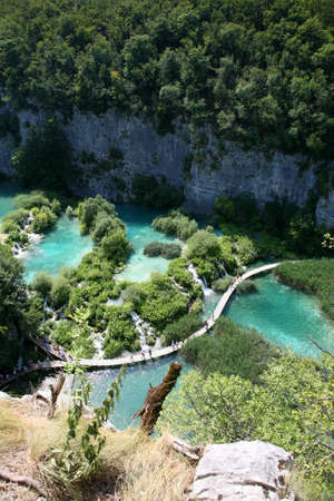 Aerial view of a lake in Plitvice, in the Plitvice Lakes municipality - mountainous region of Lika. photo