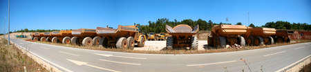 Panoramic view of Trucks aligned near by the road in Croatia Stock Photo - 12662514