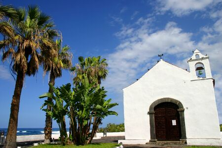 grand canary: beautiful old church at grand canary with palm tree