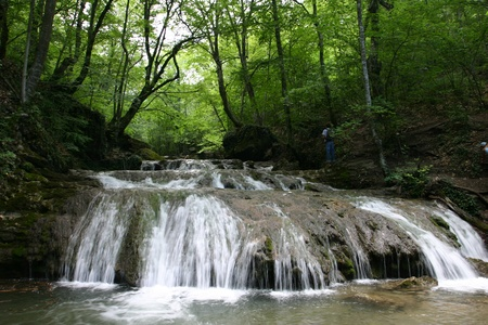Cascades in spring forest in Crimea in Ukraine Stock Photo - 12797652
