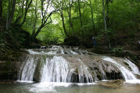 Cascades in spring forest in Crimea in Ukraine Stock Photo - 12797652