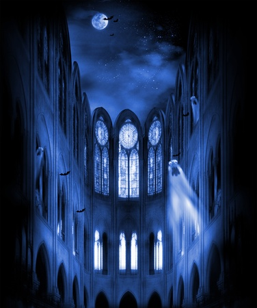 vlad: Illustration of a fantastic church during the night of halloween