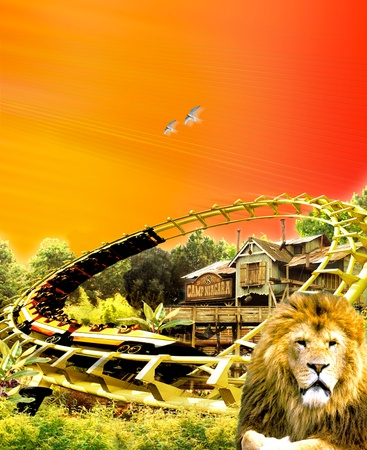 Illustration of a fast roller coaster with digital and graphic background illustration