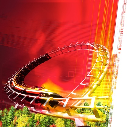 Amusement park with red background and people in a roller coaster