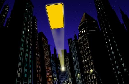 batman: Illustration with city in the background at night with flash of light