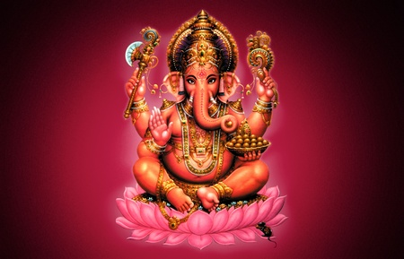 Illustration of Ganesh on red background - Indian God illustration