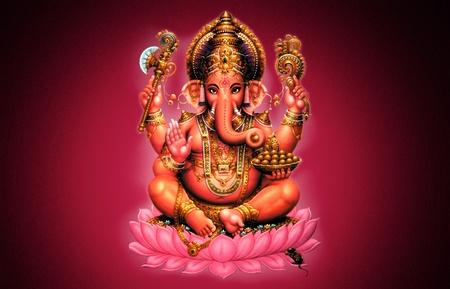 indian god: Illustration of Ganesh on red background - Indian God Stock Photo