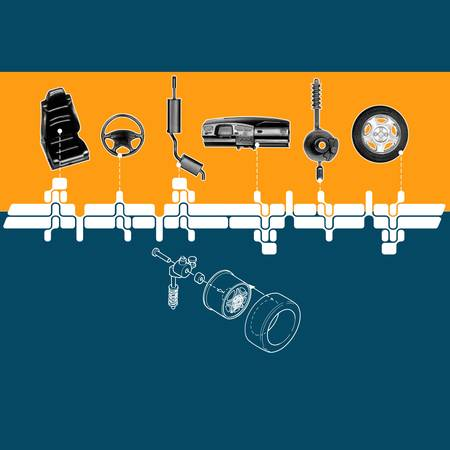 displaying: Illustration displaying different car parts Stock Photo