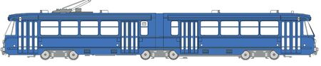 tramway: Illustration of a blue tramway from Brussels Stock Photo
