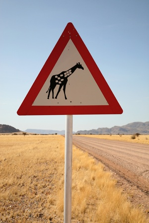 Danger Giraffe Crossing Road Sign close to Country Road, Namibia, South West Africa photo