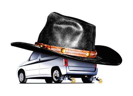 Illustration of a Cowboy car  on white background illustration