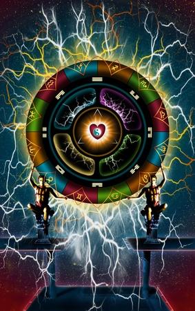 astrological wheel of love Stock Photo