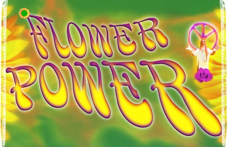 Mood of the flower power movement in the 70 photo